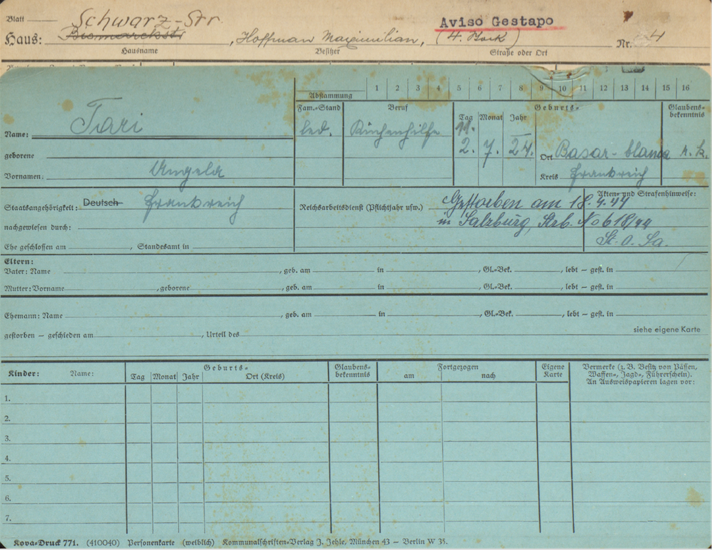 Angèle Tari's  Police Registration Card