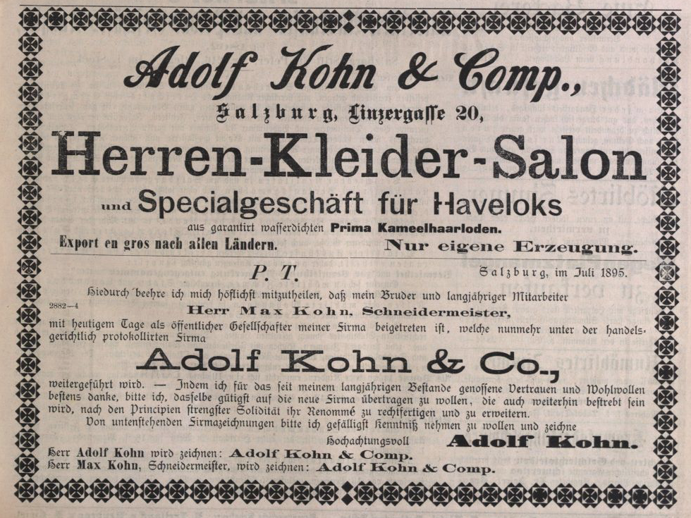 Advertisement »Adolf Kohn & Comp.« in the Salzburger Volksblatt, august 1895, page 7<br>Source: Österr. Nationalbibliothek