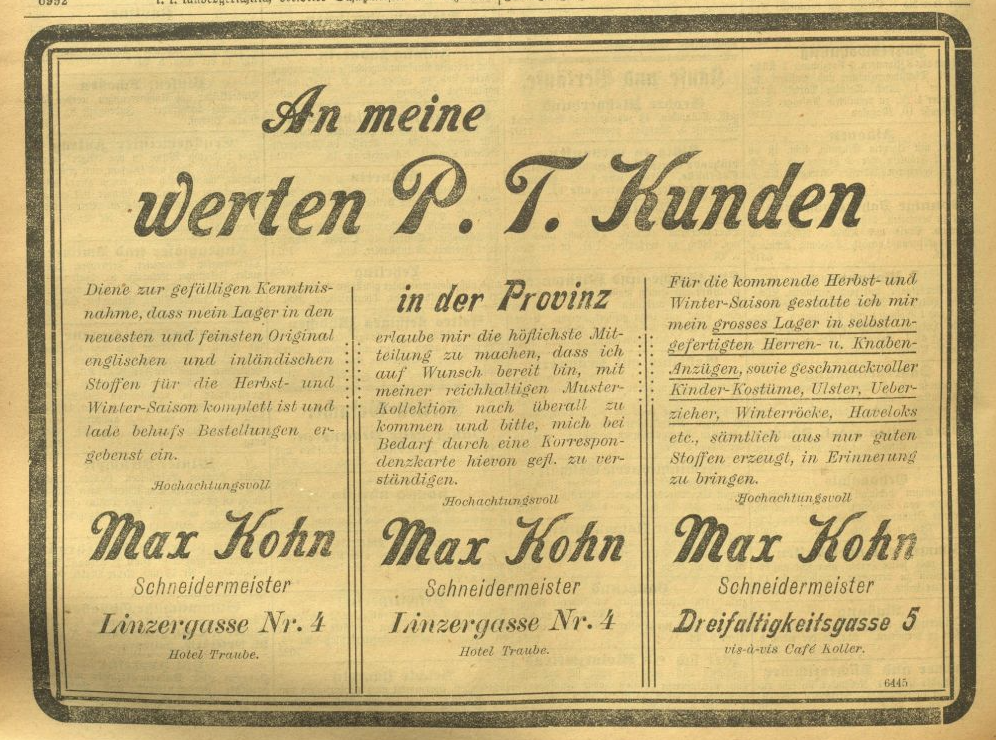 Advertisement »Max Kohn« in the Salzburger Volksblatt, october 1902, page 13<br>Source: Österr. Nationalbibliothek