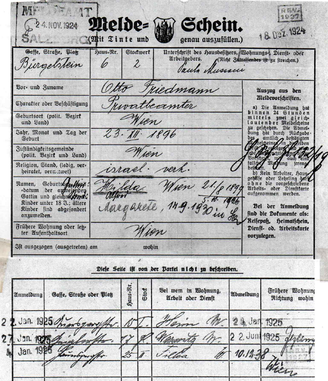 Police Registration Record for Otto & Hilde Friedmann