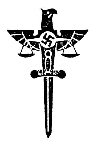 The symbol of Nazi Civil and Military Justice: the sword and scales of justice embedded with a swastika in the Nazi party eagle.