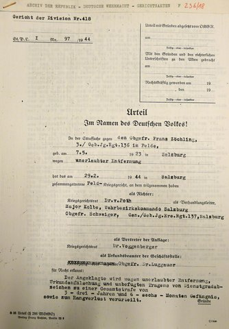The court-martial verdict of the 418th Division
