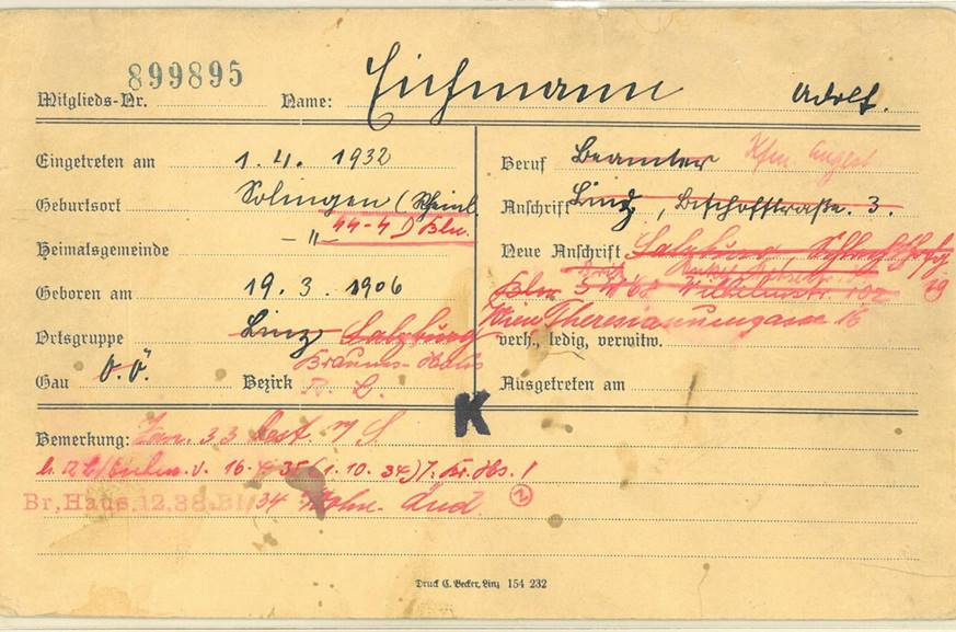 Nazi Party membership card for Adolf Eichmann with his official addresses: 3 Bischofstraße in Linz; 19 Schlachthofgasse in Salzburg; 102  Wilhelmstraße in Berlin (the HQ of the Reichsführers SS); 16 Theresianumgasse in Vienna (the Palais Rothschild which was the HQ of the »Central Office for Jewish Emigration«)