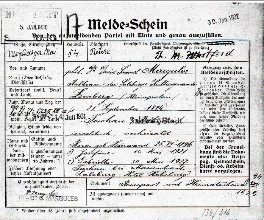 Registration Card of the Margules family (front side)