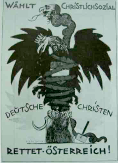 An Antisemitic election poster of the Social Christian Party from 1920