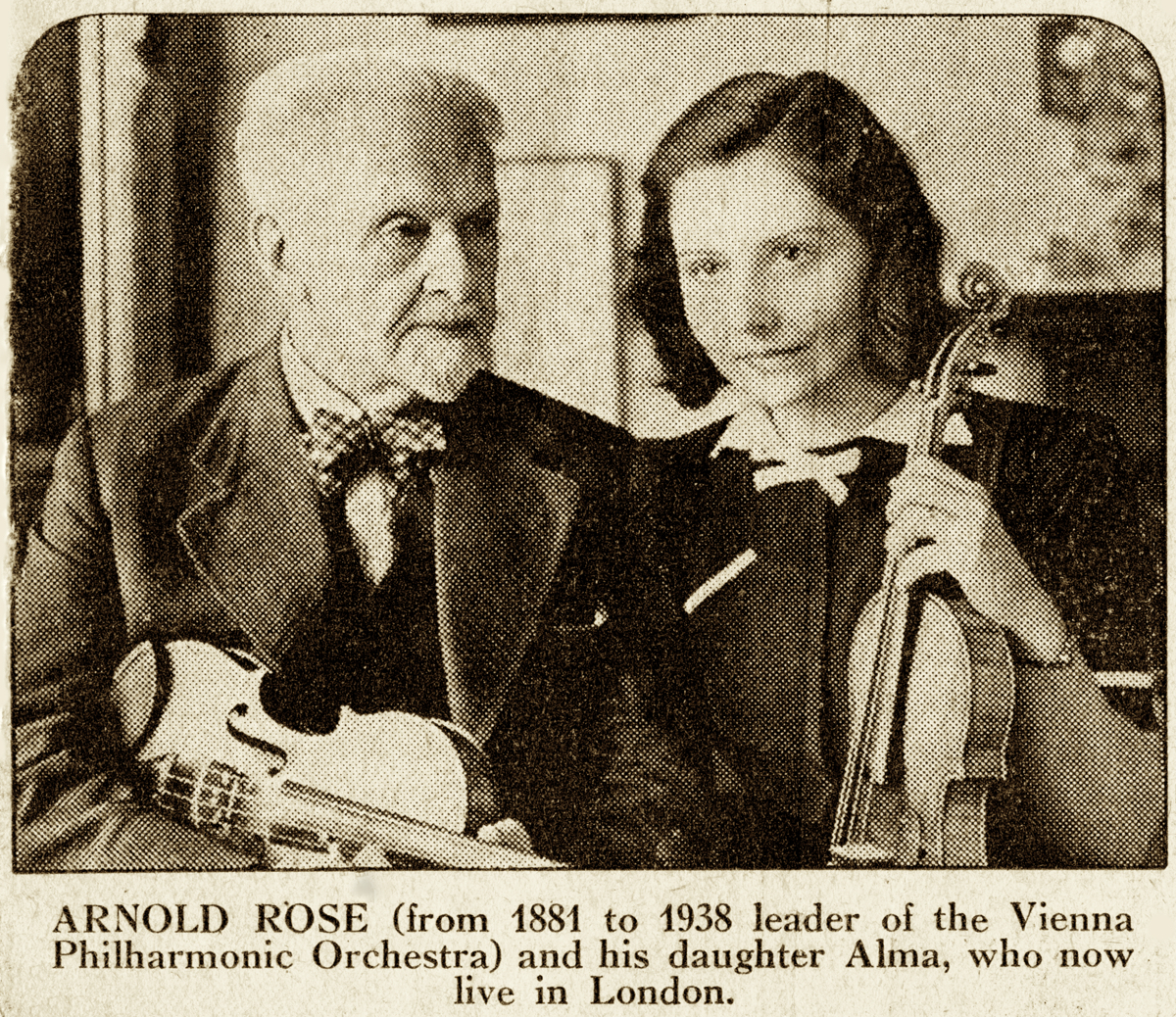 Newspaper clipping of Arnold and Alma Rosé after their escape from Vienna<br>Photo: Gustav Mahler–Alfred Rosé Collection, Music Library, Western University, London, Canada