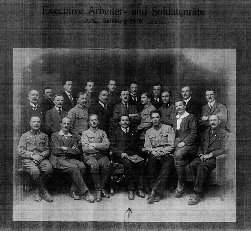 Ececutive workers- & soldiers council, Salzburg 1919; flag: Karl Emminger