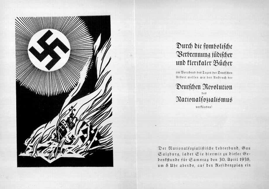 Invitation for the April 30, 1938 book-burning in Salzburg