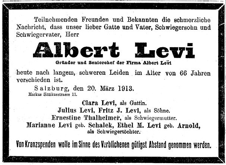 Death Notice for Albert Levi in the »Neuen Freien Presse«, March 22, 1913