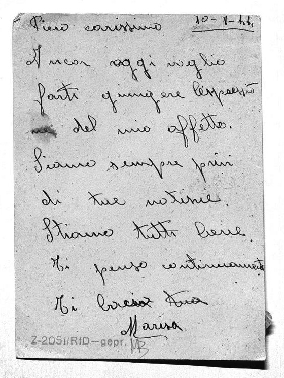 Back of the postcard from Marisa Maraldi to Pietro Pironi sitting on death row<br>Source: Munich State Archive