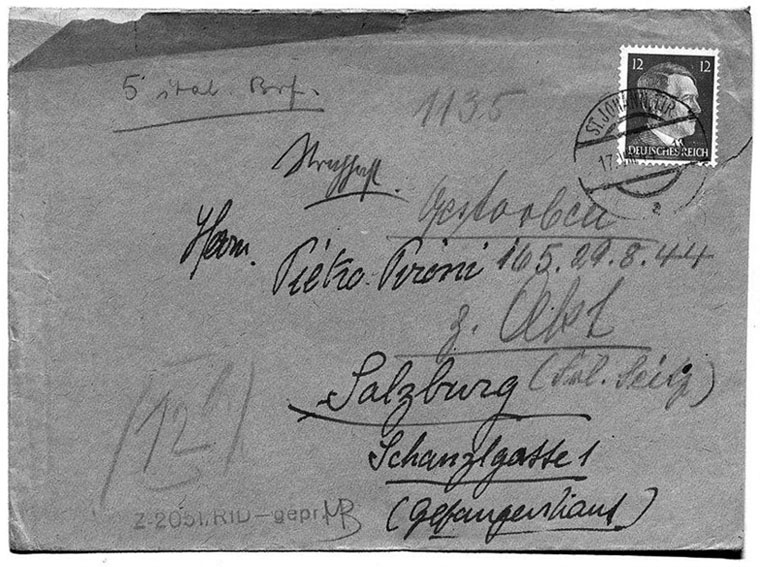 Envelope that contained forwarded mail to the already executed Pietro Pironi<br>Source: Munich State Archive