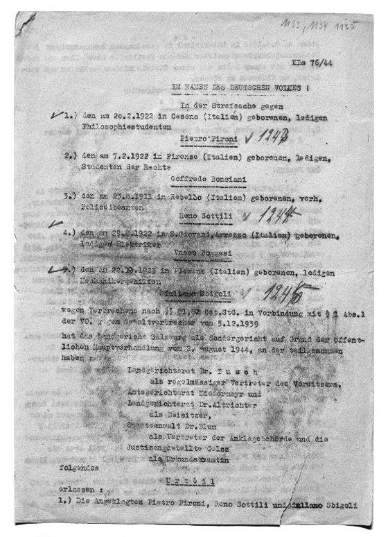 Mimeographed copy of the death sentence of the Salzburg Special Court on August 2, 1944<br>Source: Munich State Archive