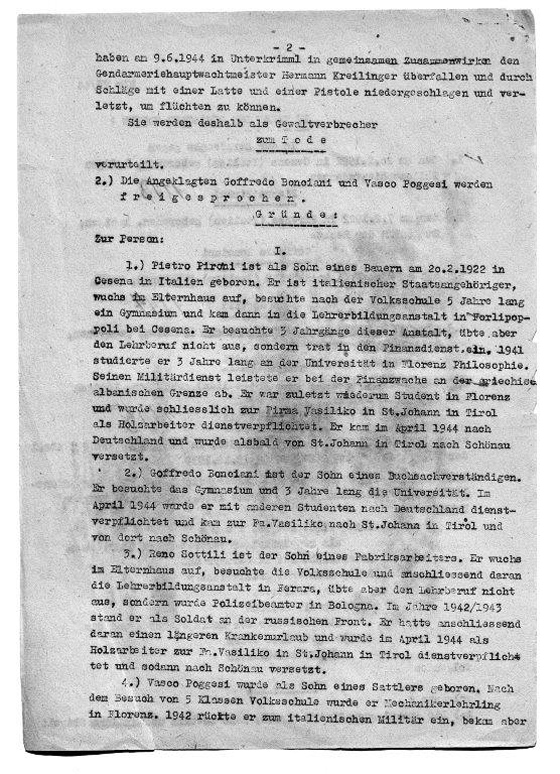 Death Sentence of the Salzburg Special Court from August 2, 1944<br>Source: Munich city Archives