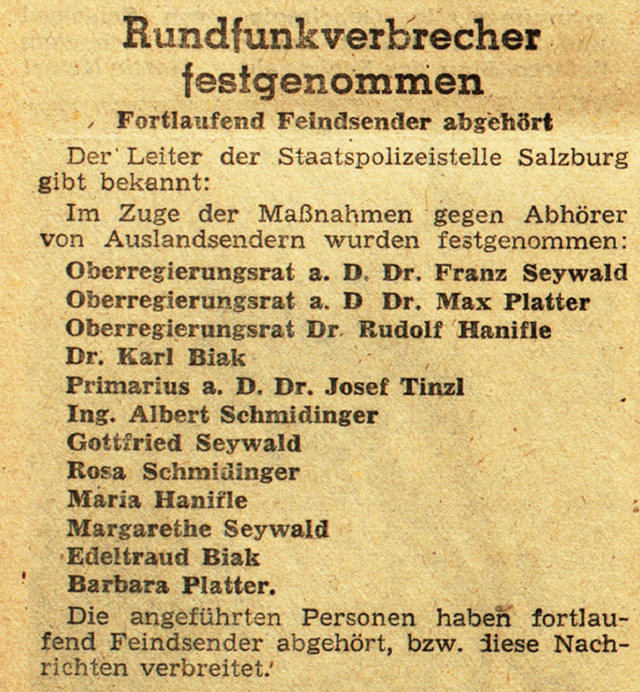 Arrest-List of the Salzburg Gestapo (Salzburger Zeitung, April 2, 1944, p 4)