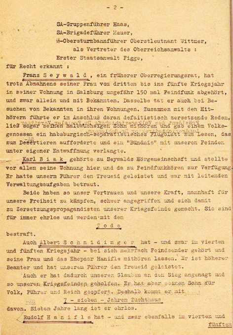 Verdict by Dr. Roland Freisler, July 22, 1944<br>Photo: Private archive