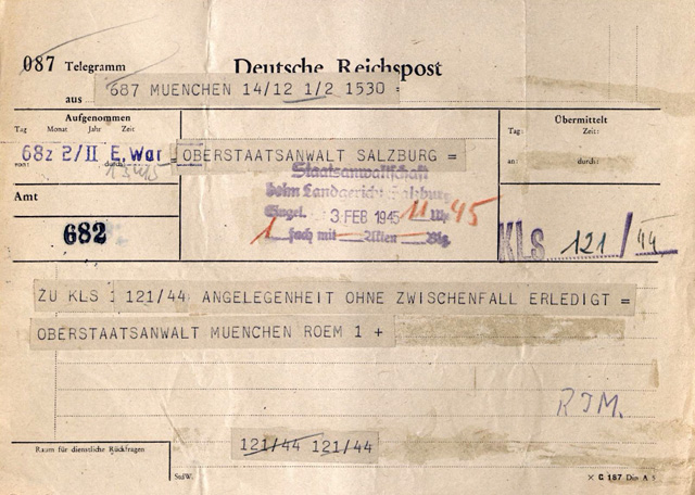 Telegram from the Munich Superior Prosecutor informing his Salzburg that the sentence had been carried out