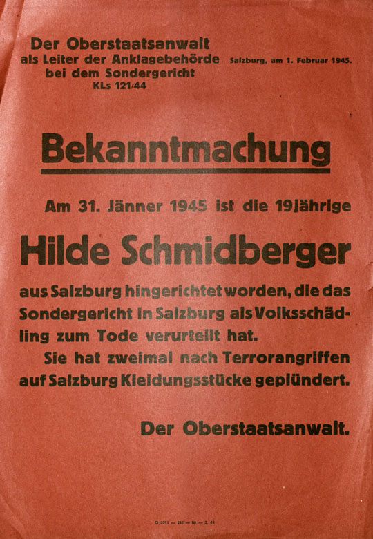 Poster notifying the public that Hilde Schmidberger had been executed