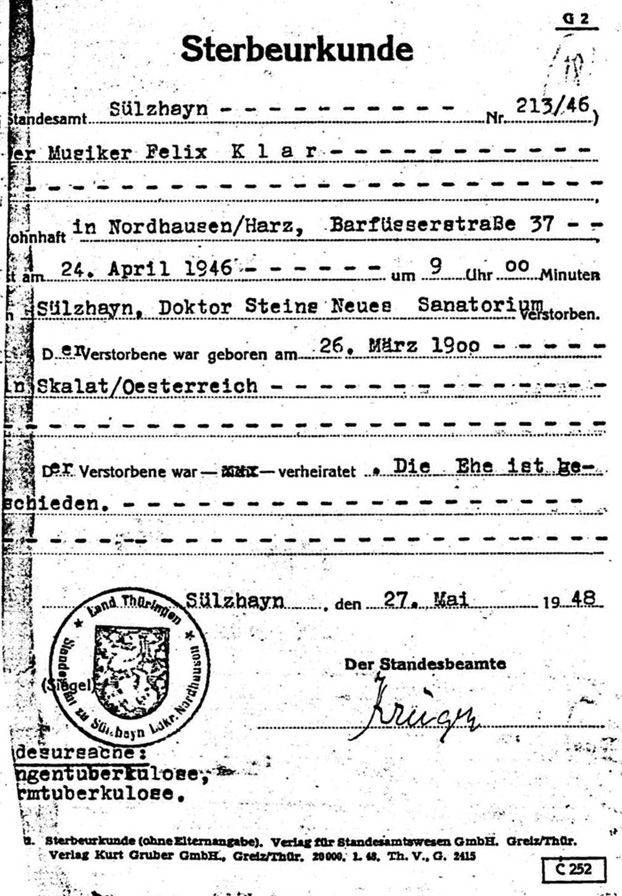 Death certificate of Felix Klar