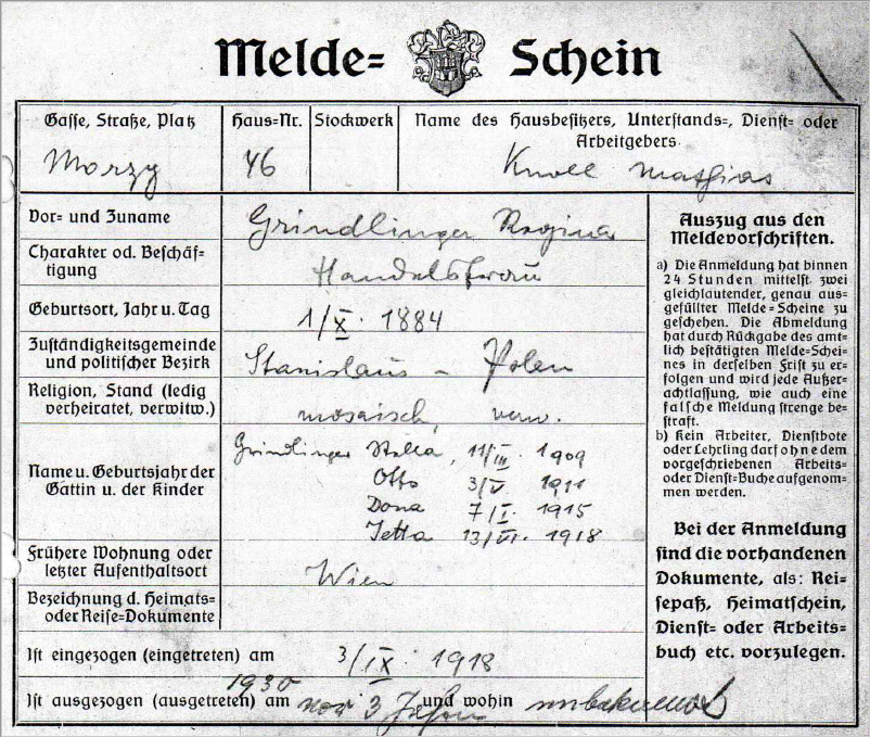 Registration form of the Grindlinger family