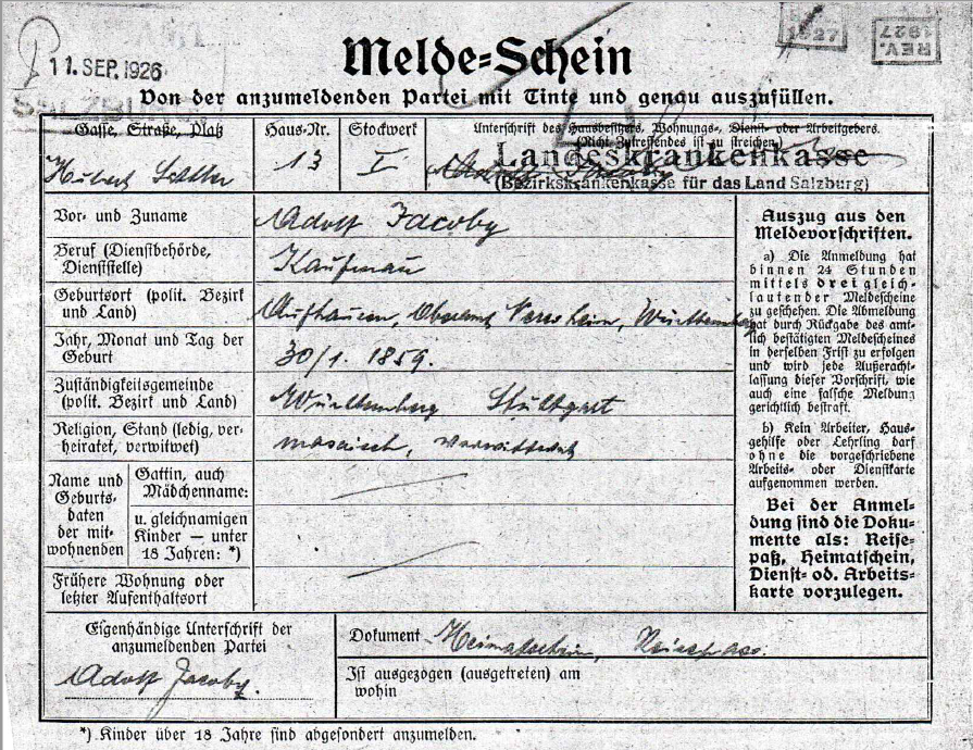 Registration form of Adolf Jacoby