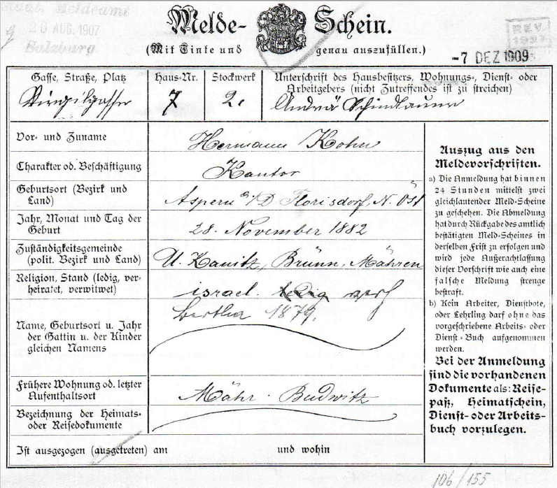 Registration form of Bertha & Hermann Kohn