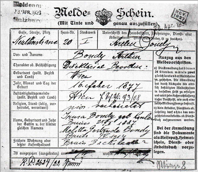 Registration form of Irma Bondy