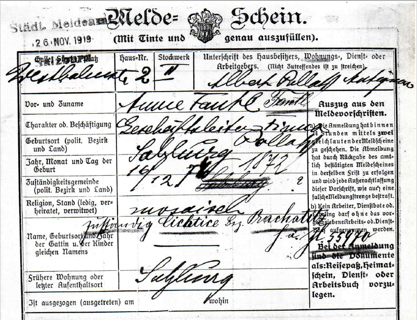 Registration form of von Anna Stuchly