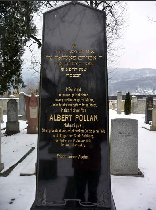 Gravestone Albert Pollak<br>Photo: Jewish Community Organization of Salzburg