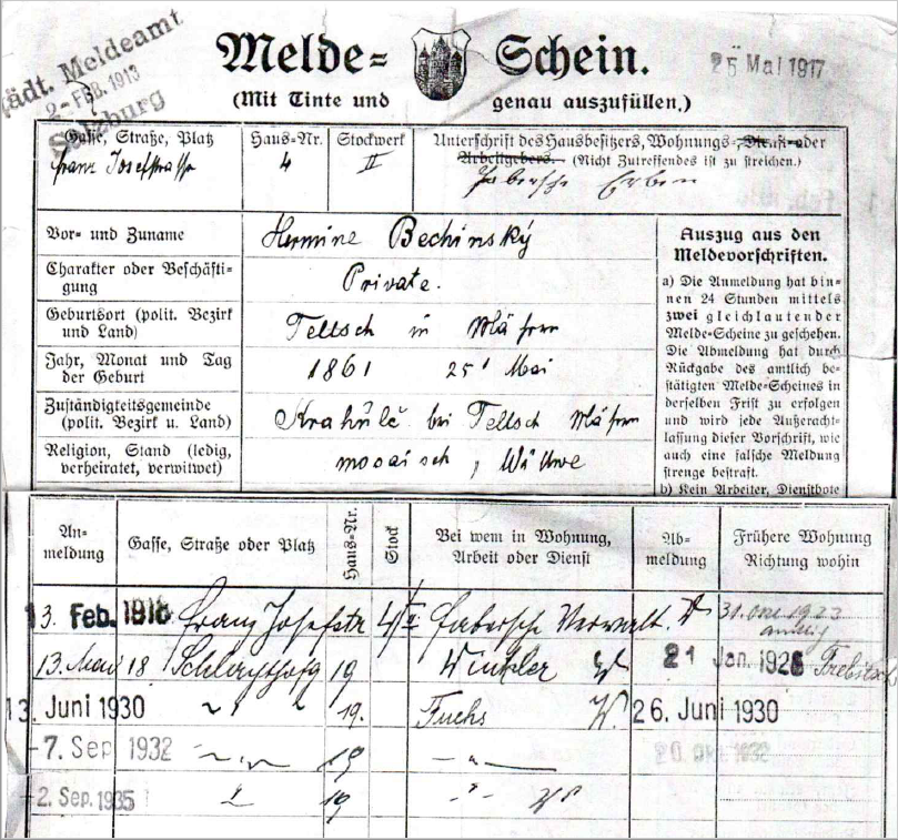 Police registration file card of Hermine Bechinsky