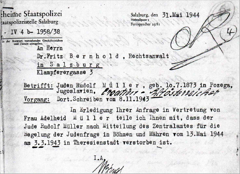 Death notice by the Gestapo, 1944-05-31