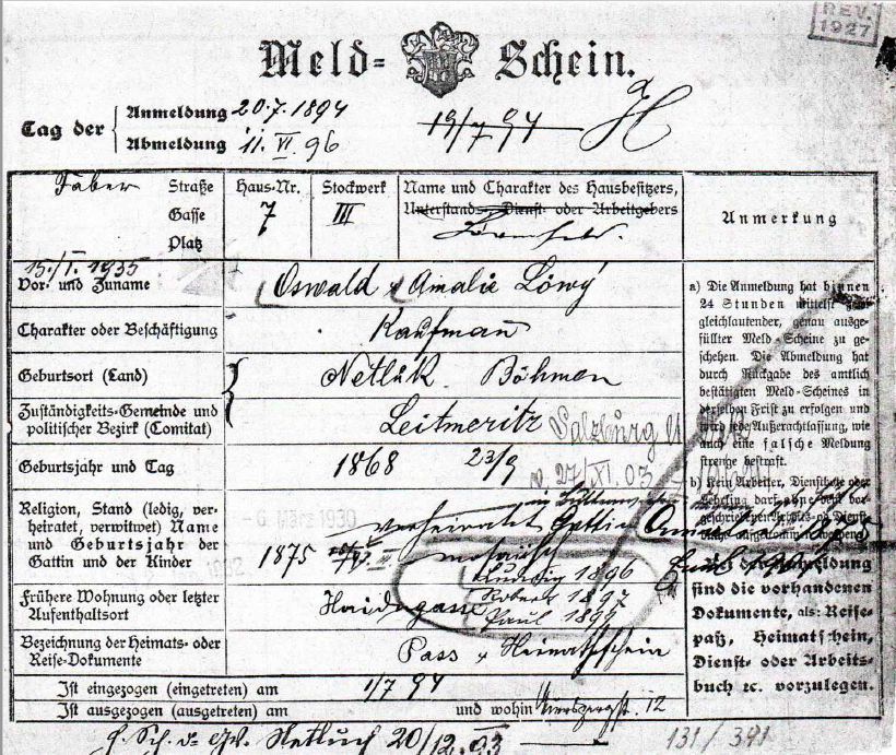 Registration form of the Löwy family
