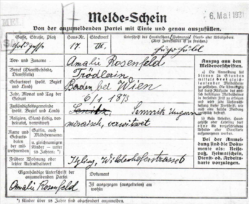 Registration form of Amalie Rosenfeld