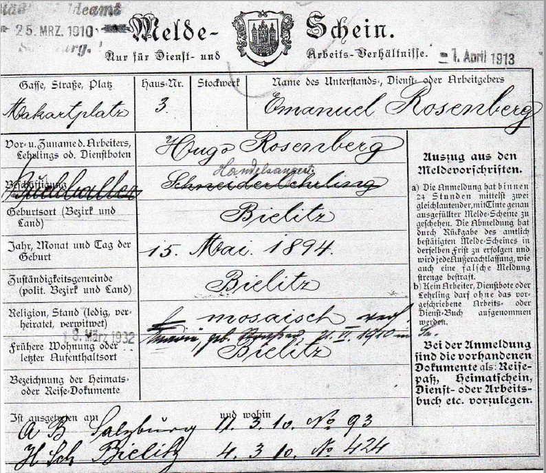 Registration form of Hugo Rosenberg