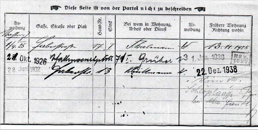 Registration form of family Singer