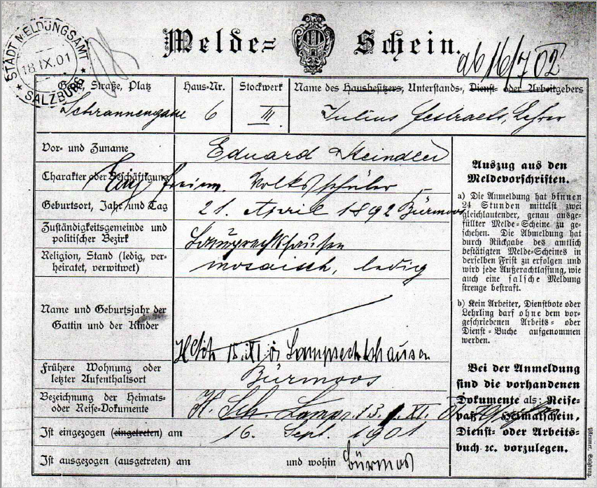 Registration form of Eduard Steindler