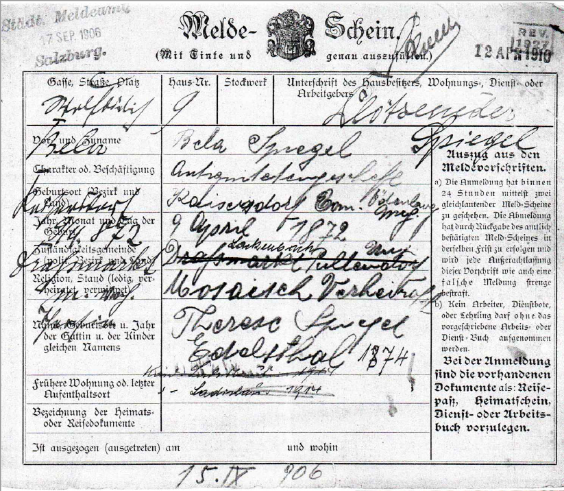 Registration form of Therese & Bela Spiegel