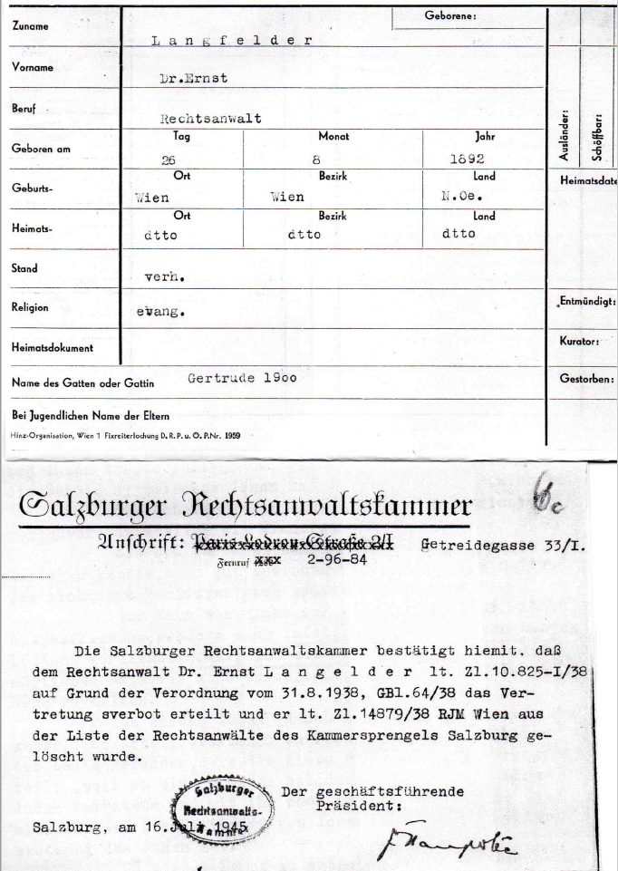Registration form of Dr. Ernst Lengfelder and confirmation of the occupational ban