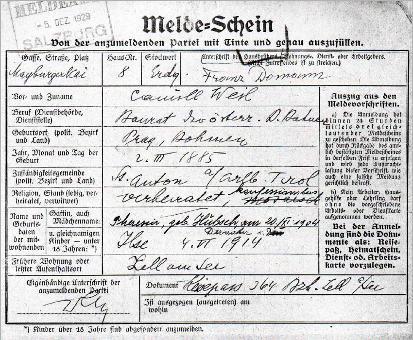 Registration form of Camill Weil