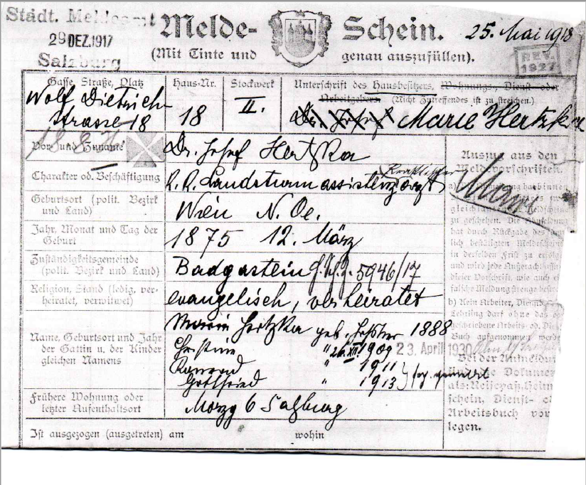 Registration form of the Hertzka family