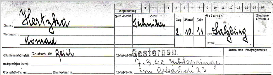 Registration form of Konrad Hertzka