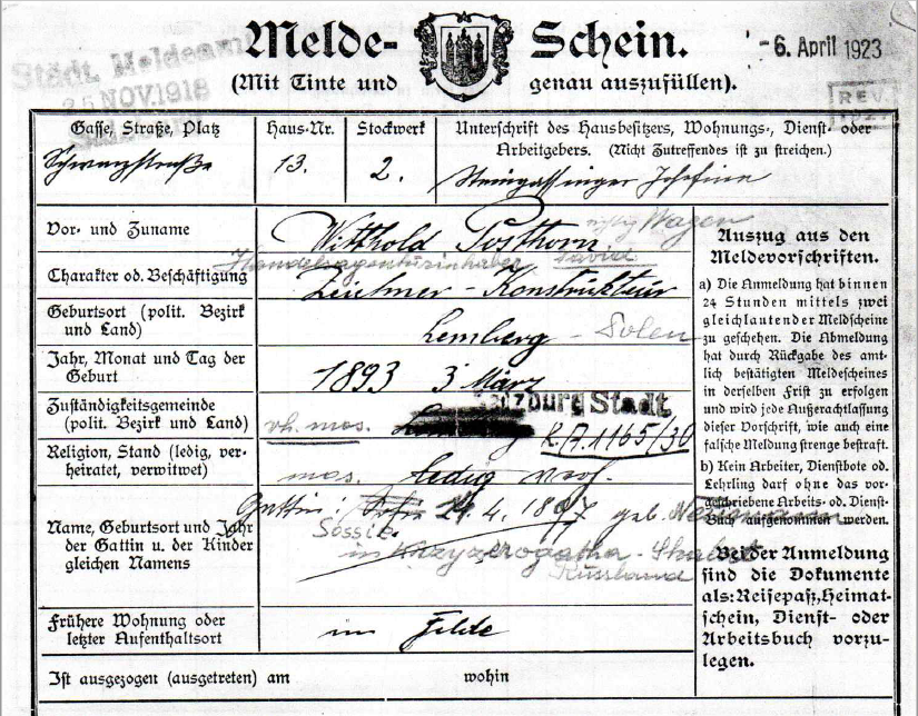 Registration form of Sossie & Witthold Wagen (formerly Posthorn)