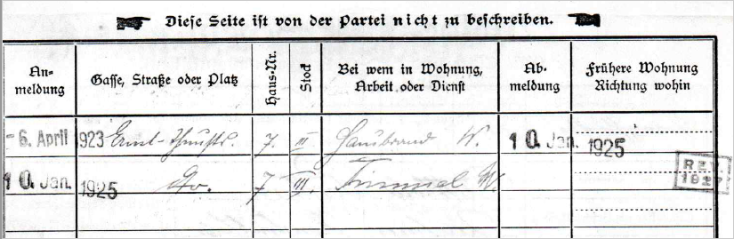 Registration form of Sossie & Witthold Wagen (formerly Posthorn) – backside