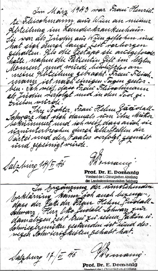 Explanatation of Dr. Erwin Domanig to the death of Henriette Fleischmann