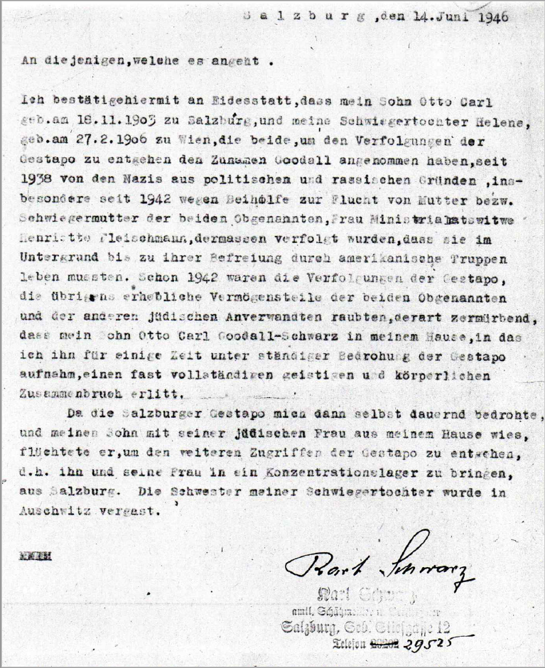 Declaration of Otto Karl Schwarz father to the prosecution of Henriette Fleischmann