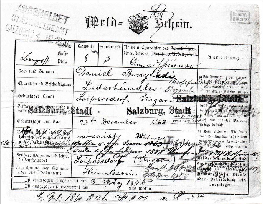 Police Registration Card for Daniel Bonyhadi