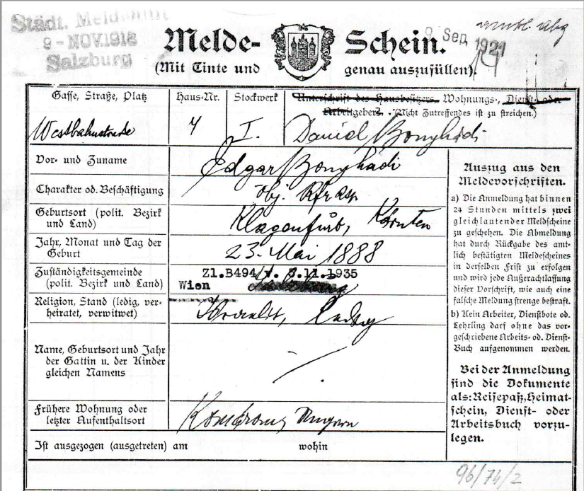 Registration form of Edgar Bonyhadi